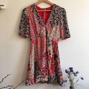 Patchwork floral mini dress